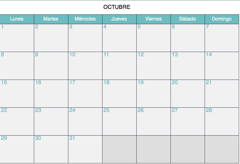 Calendario Surf Camps Octubre
