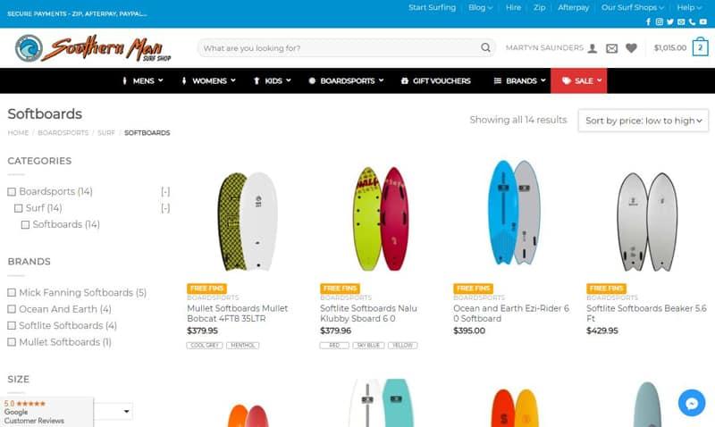 Tablas de surf de segunda mano ejemplos web